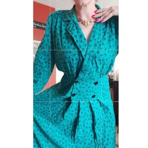 Vintage Lapel Waist Pleated Dress Micro Floral